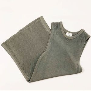 "WILFRED long sleeveless ""Palmier"" rib-knit tunic"